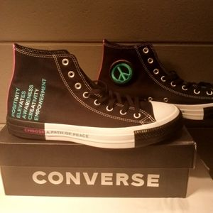 "New! Sz11 Converse ""Seek Peace"" Black Hi Tops"